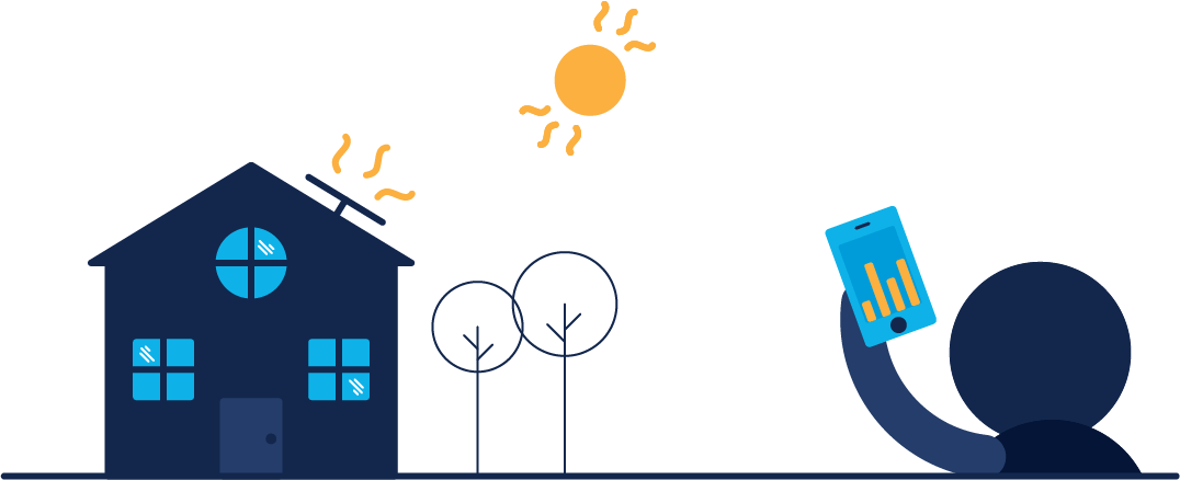 An illustration of a person holding their phone with energy insights displayed, infront of a home with solar panels on its roof. The sun shines above the home, its rays hitting the solar panels.